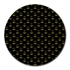 Gold Scales Of Justice On Black Repeat Pattern All Over Print  Round Mousepads by PodArtist