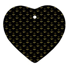 Gold Scales Of Justice On Black Repeat Pattern All Over Print  Ornament (heart) by PodArtist