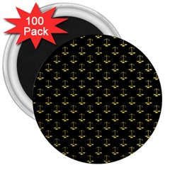 Gold Scales Of Justice On Black Repeat Pattern All Over Print  3  Magnets (100 Pack) by PodArtist