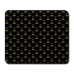 Gold Scales Of Justice On Black Repeat Pattern All Over Print  Large Mousepads by PodArtist