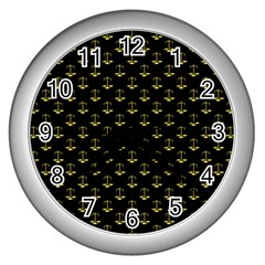 Gold Scales Of Justice On Black Repeat Pattern All Over Print  Wall Clocks (silver)  by PodArtist