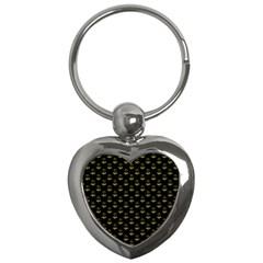 Gold Scales Of Justice On Black Repeat Pattern All Over Print  Key Chains (heart)  by PodArtist