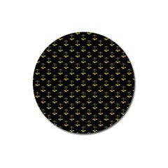 Gold Scales Of Justice On Black Repeat Pattern All Over Print  Magnet 3  (round) by PodArtist
