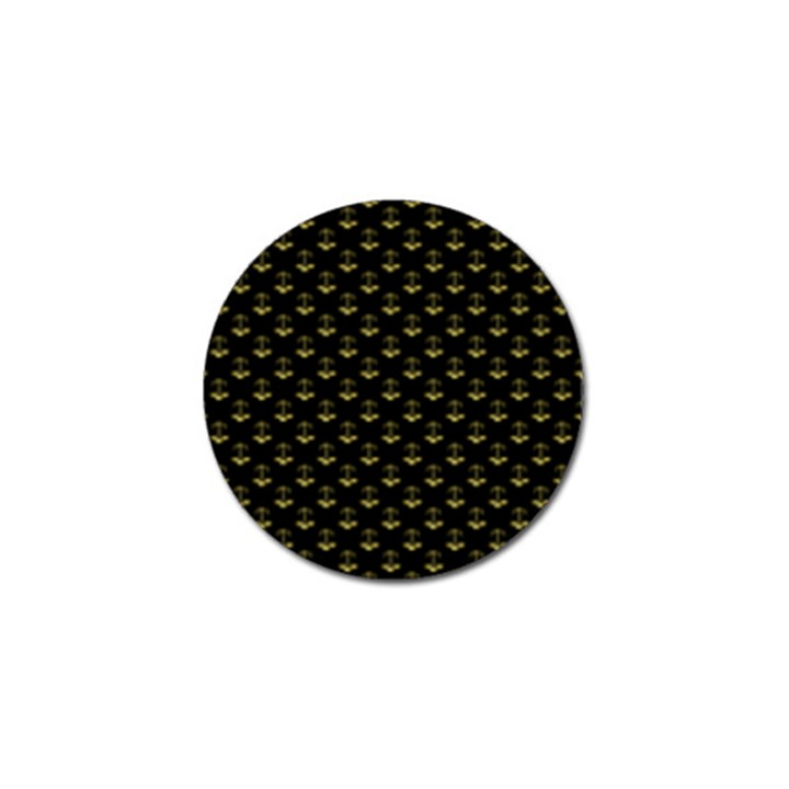 Gold Scales Of Justice on Black Repeat Pattern All Over Print  Golf Ball Marker (4 pack)