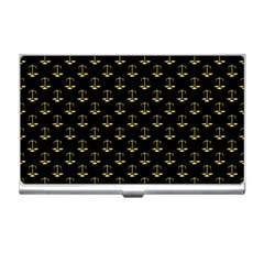 Gold Scales Of Justice On Black Repeat Pattern All Over Print  Business Card Holders by PodArtist