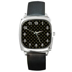 Gold Scales Of Justice On Black Repeat Pattern All Over Print  Square Metal Watch by PodArtist