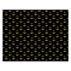 Gold Scales Of Justice On Black Repeat Pattern All Over Print  Rectangular Jigsaw Puzzl by PodArtist