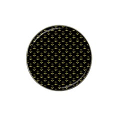 Gold Scales Of Justice On Black Repeat Pattern All Over Print  Hat Clip Ball Marker (4 Pack)