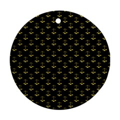 Gold Scales Of Justice On Black Repeat Pattern All Over Print  Round Ornament (two Sides) by PodArtist