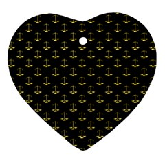 Gold Scales Of Justice On Black Repeat Pattern All Over Print  Heart Ornament (two Sides) by PodArtist