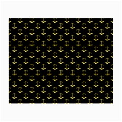 Gold Scales Of Justice On Black Repeat Pattern All Over Print  Small Glasses Cloth (2 Side) by PodArtist