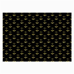 Gold Scales Of Justice On Black Repeat Pattern All Over Print  Large Glasses Cloth (2 Side) by PodArtist