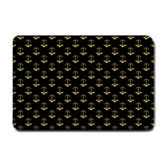 Gold Scales Of Justice On Black Repeat Pattern All Over Print  Small Doormat  by PodArtist
