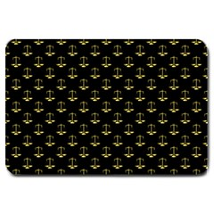 Gold Scales Of Justice On Black Repeat Pattern All Over Print  Large Doormat  by PodArtist