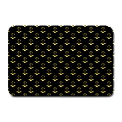 Gold Scales Of Justice On Black Repeat Pattern All Over Print  Plate Mats by PodArtist