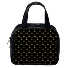 Gold Scales Of Justice On Black Repeat Pattern All Over Print  Classic Handbags (one Side) by PodArtist