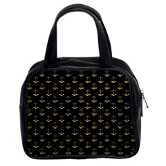 Gold Scales Of Justice On Black Repeat Pattern All Over Print  Classic Handbags (2 Sides) by PodArtist