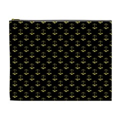 Gold Scales Of Justice On Black Repeat Pattern All Over Print  Cosmetic Bag (xl) by PodArtist