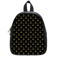 Gold Scales Of Justice On Black Repeat Pattern All Over Print  School Bag (small) by PodArtist