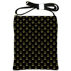 Gold Scales Of Justice On Black Repeat Pattern All Over Print  Shoulder Sling Bags by PodArtist