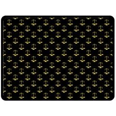 Gold Scales Of Justice On Black Repeat Pattern All Over Print  Fleece Blanket (large)  by PodArtist