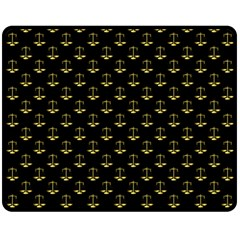 Gold Scales Of Justice On Black Repeat Pattern All Over Print  Fleece Blanket (medium)  by PodArtist