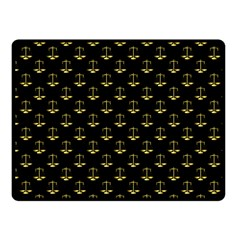 Gold Scales Of Justice On Black Repeat Pattern All Over Print  Fleece Blanket (small) by PodArtist