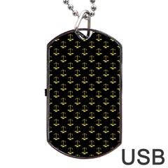 Gold Scales Of Justice On Black Repeat Pattern All Over Print  Dog Tag Usb Flash (two Sides) by PodArtist
