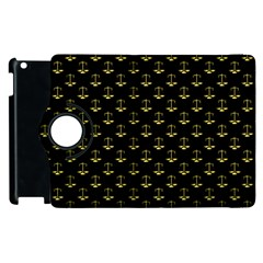 Gold Scales Of Justice On Black Repeat Pattern All Over Print  Apple Ipad 2 Flip 360 Case by PodArtist
