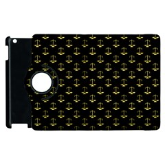 Gold Scales Of Justice On Black Repeat Pattern All Over Print  Apple Ipad 3/4 Flip 360 Case by PodArtist