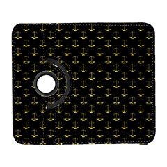 Gold Scales Of Justice On Black Repeat Pattern All Over Print  Galaxy S3 (flip/folio) by PodArtist