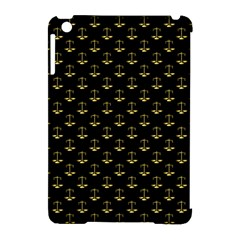 Gold Scales Of Justice On Black Repeat Pattern All Over Print  Apple Ipad Mini Hardshell Case (compatible With Smart Cover) by PodArtist