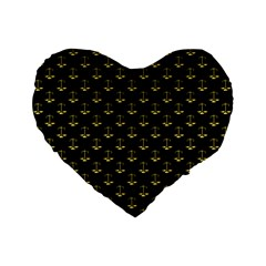 Gold Scales Of Justice On Black Repeat Pattern All Over Print  Standard 16  Premium Heart Shape Cushions by PodArtist