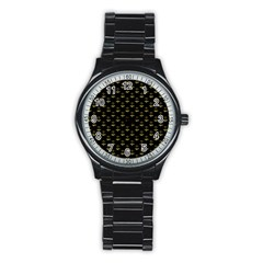 Gold Scales Of Justice On Black Repeat Pattern All Over Print  Stainless Steel Round Watch by PodArtist