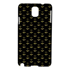 Gold Scales Of Justice On Black Repeat Pattern All Over Print  Samsung Galaxy Note 3 N9005 Hardshell Case by PodArtist