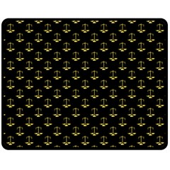 Gold Scales Of Justice On Black Repeat Pattern All Over Print  Double Sided Fleece Blanket (medium)  by PodArtist
