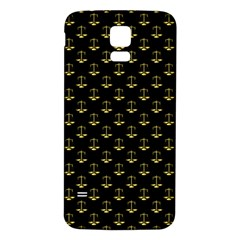 Gold Scales Of Justice On Black Repeat Pattern All Over Print  Samsung Galaxy S5 Back Case (white) by PodArtist