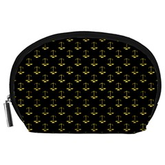Gold Scales Of Justice On Black Repeat Pattern All Over Print  Accessory Pouches (large)  by PodArtist