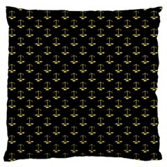 Gold Scales Of Justice On Black Repeat Pattern All Over Print  Standard Flano Cushion Case (one Side) by PodArtist