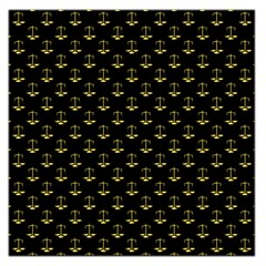 Gold Scales Of Justice On Black Repeat Pattern All Over Print  Large Satin Scarf (square) by PodArtist