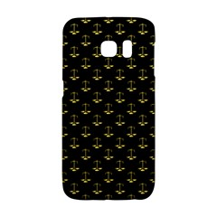 Gold Scales Of Justice On Black Repeat Pattern All Over Print  Galaxy S6 Edge by PodArtist
