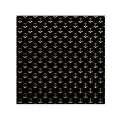 Gold Scales Of Justice On Black Repeat Pattern All Over Print  Small Satin Scarf (square) by PodArtist