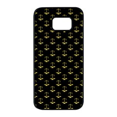 Gold Scales Of Justice On Black Repeat Pattern All Over Print  Samsung Galaxy S7 Edge Black Seamless Case by PodArtist