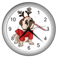 Pug Xmas Wall Clocks (silver)