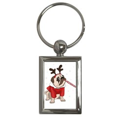 Pug Xmas Key Chains (rectangle)  by Valentinaart