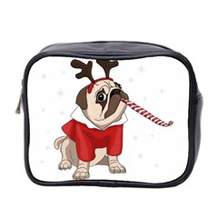 Pug Xmas Mini Toiletries Bag 2 Side by Valentinaart