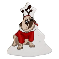 Pug Xmas Christmas Tree Ornament (two Sides) by Valentinaart