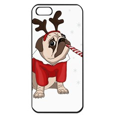 Pug Xmas Apple Iphone 5 Seamless Case (black) by Valentinaart
