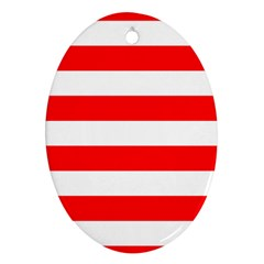 Christmas Red And White Cabana Stripes Ornament (oval) by PodArtist