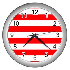 Christmas Red And White Cabana Stripes Wall Clocks (silver)  by PodArtist